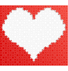 Red piece puzzle jigsaw heart background love vector