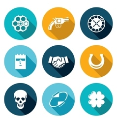 Russian roulette game icons set vector