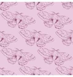 Seamless pattern with lined moth vector
