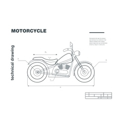 Technical wireframe with motorbike vector image vector image