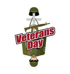 Veterans day us army soldier and war heros grave vector