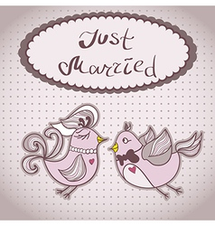 Wedding card with flying birds vector image