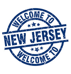 Welcome to new jersey blue stamp vector