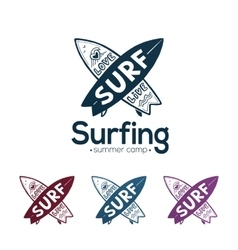 Crossing surfboards surfing logo templates vector