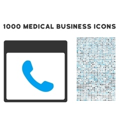 Phone calendar page icon with 1000 medical vector
