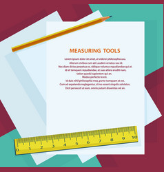 Measuring instruments ruler pencil against vector