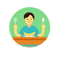 Young man prepare to eat banana with spoon and vector
