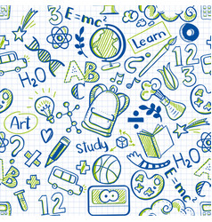 School seamless pattern on squared paper vector