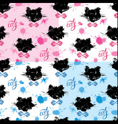 Seamless pattern with black cat heads and blots in vector