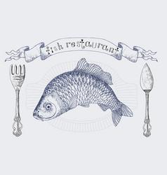Fish restaurant banner with carp vector