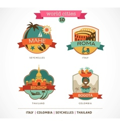 World cities labels - mahe roma bangkok bogota vector
