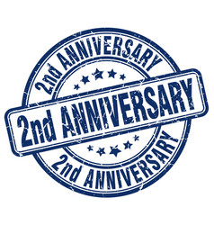2nd anniversary blue grunge stamp vector image