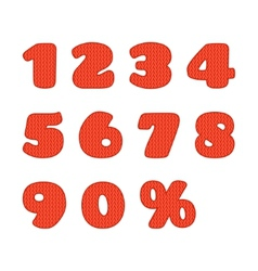 Knitted numbers set vector