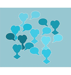 Blue silhouette speak bubble vector