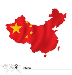 Map of china with flag vector