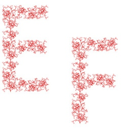 hand drawing ornamental alphabet letter ef vector image