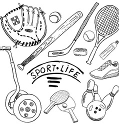 Sport sketch doodles elements hand drawn set with vector