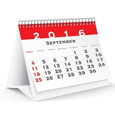 September 2016 desk calendar vector