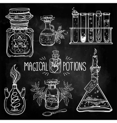 Set of beautiful ornate potion bottles vector