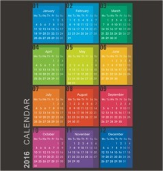 Calendar 2016 week starts monday vector