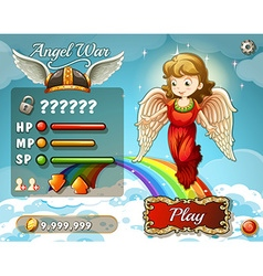 Game template with angel in the sky vector image