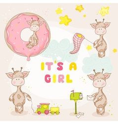 Baby girl giraffe set - baby shower card vector
