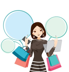 Woman with notebook smartphone shopping bag vector