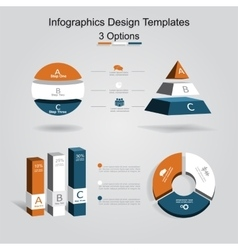 Set of infographics design template with 3 options vector