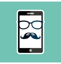Smartphone whit mustache and glasses design vector