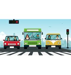 Car traffic light vector