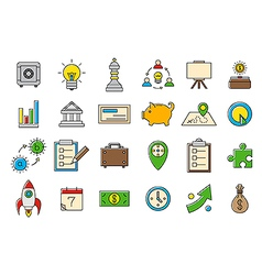 Colorful business strategy icons set vector