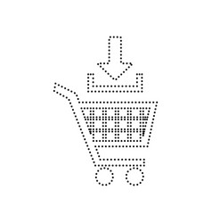 Add to shopping cart sign black dotted vector