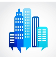 blue abstract cityscape with speach bubble vector image vector image