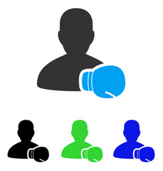 Boxing sportsman flat icon vector