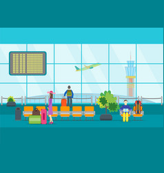 cartoon airport waiting vector image vector image