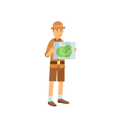 Cartoon archaeologist character studying the map vector