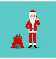 Cartoon santa claus talking on mobile phone vector