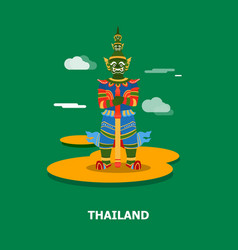 colorful giant statue in thailand design vector image