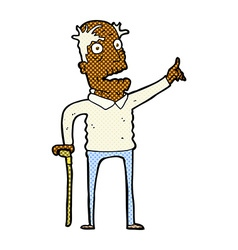 Comic cartoon old man with walking stick vector