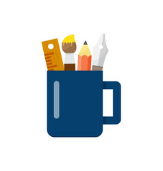 cup with pencils ruler and pens vector image