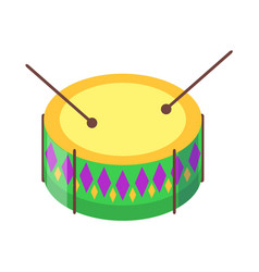 drum with sticks cartoon flat icon vector image