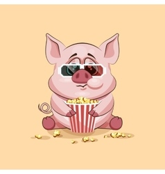 Emoji character cartoon pig chewing popcorn vector