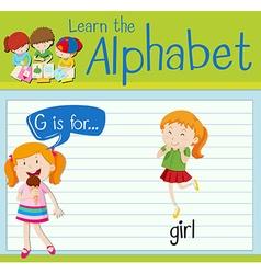 Flashcard alphabet g is for girl vector