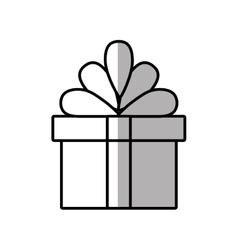Gift box ribbon anniversary party shadow vector