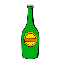 green bottle of beer icon icon cartoon vector image