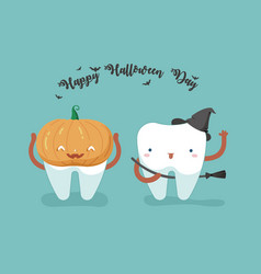 Happy halloween day teeth and tooth concept of de vector