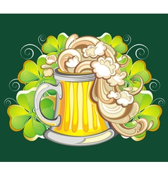 Happy st patricks day card with beer vector
