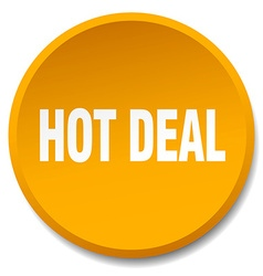 Hot deal orange round flat isolated push button vector