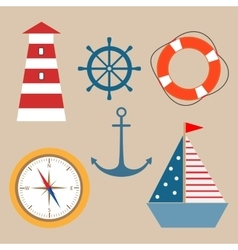marine theme set vector image vector image
