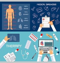 Medical diagnosis and therapy flat banners vector